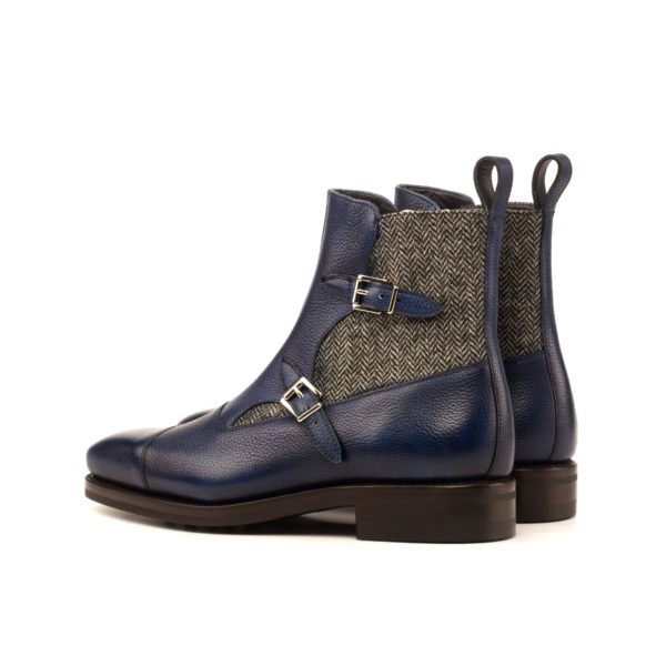 rear contrasting herringbone tweed on Octavian Buckle Boots PRATO