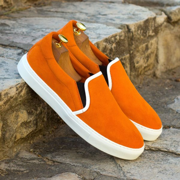 contrast white leather piping on orange suede Slip-On Sneakers PYM