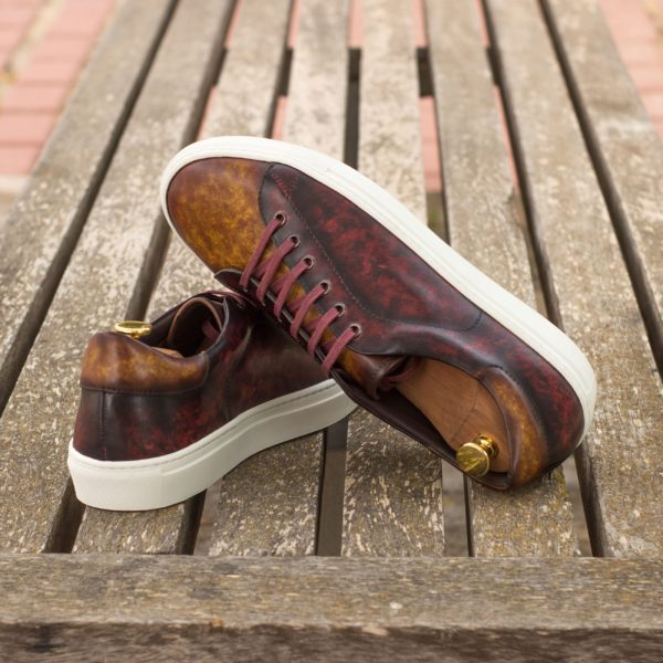 marbled pattern handmade Patina leather Trainers ROMA