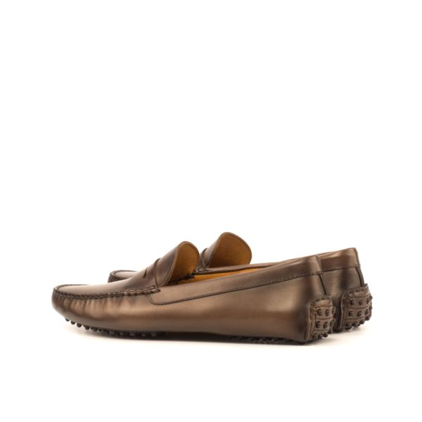 rear dimpled rubber heels on brown burnished leather Driving Loafers SENNA