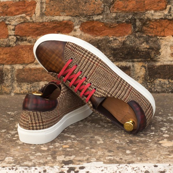 contrast tweed fabric and Patina Leather Trainers SILA