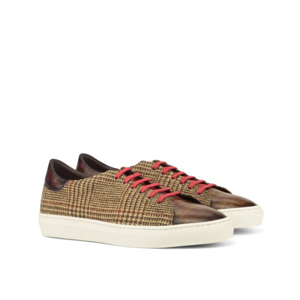 tweed fabric and Patina Leather Trainers SILA by Civardi
