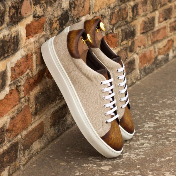 contrasting cream linen and tan patina leather Trainers TROPEA