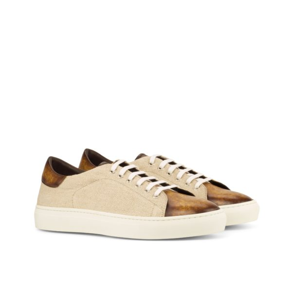 beige linen and cognac marbled Patina Trainers TROPEA by Civardi