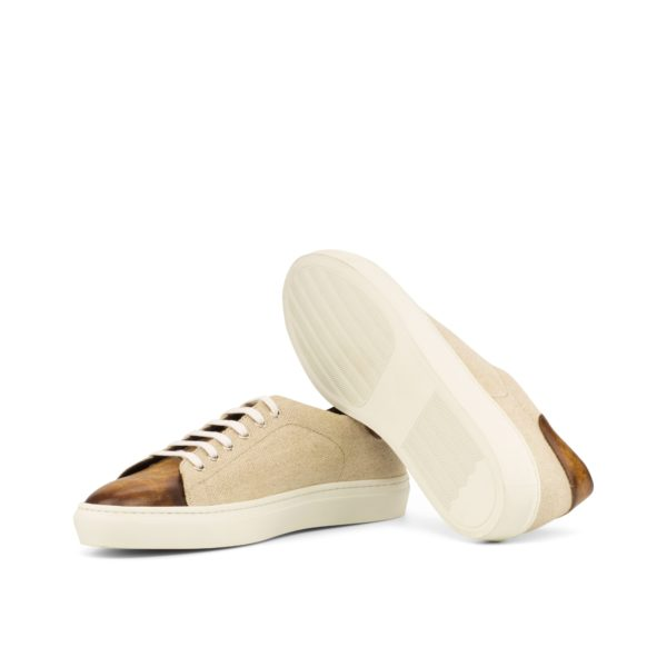 linen Patina Trainers with white rubber soles TROPEA
