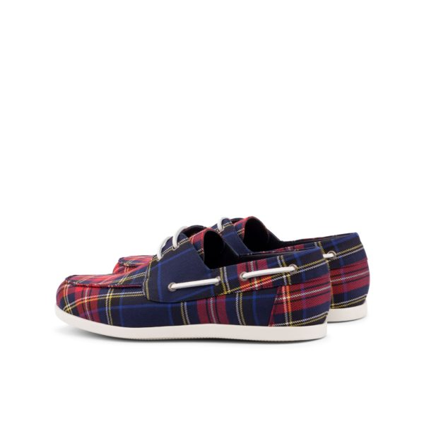 rear detail white laces on tartan Boat Shoes VOSS