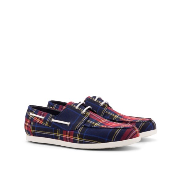 tartan Boat Shoes VOSS navy and red pattern by Civardi
