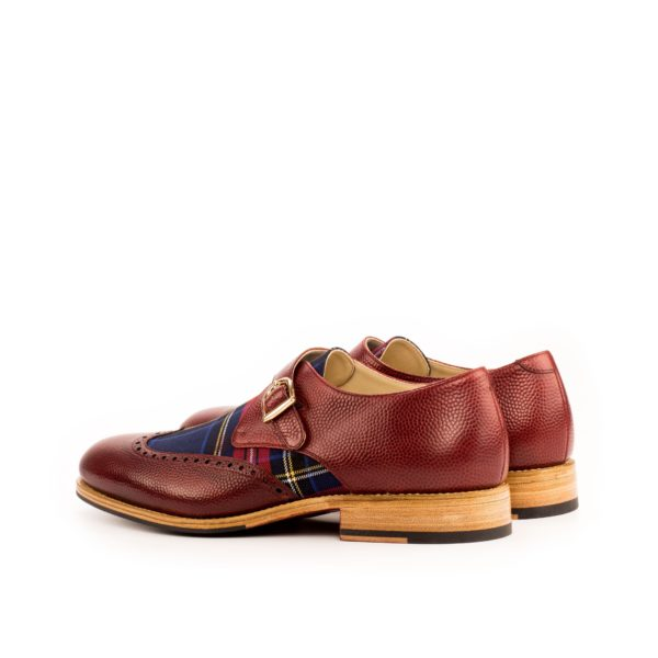 rear detail of natural colored outsoles on red tartan Single Monk Shoes ANGUS