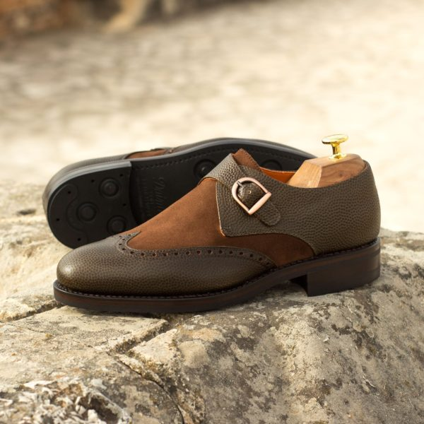Single Monk Shoes in olive leather with contrast brown suede BART