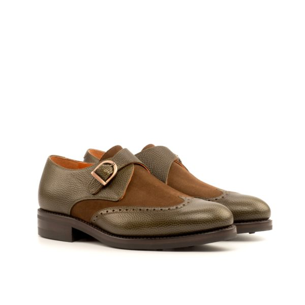 olive leather and brown suede Single Monk Shoes BART by Civardi