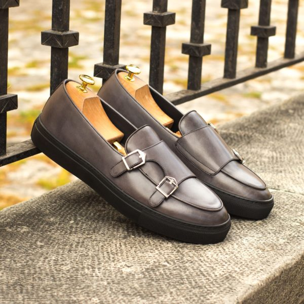 grey calf leather Sneakers with monk shoe style buckles BORREMANS
