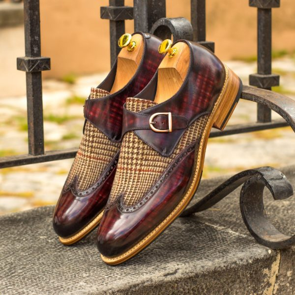 plaid tweed fabric Monk Shoes BRECON