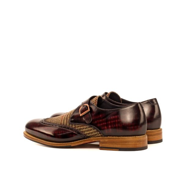 rear burgundy Patina Single Monk Shoes with tweed contrast BRECON