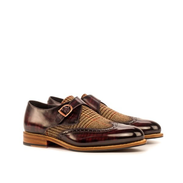 tweed and burgundy Patina leather Single Monk Shoes BRECON by Civardi