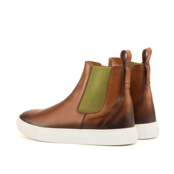 rear khaki elastics on brown casual Chelsea Boots CAL