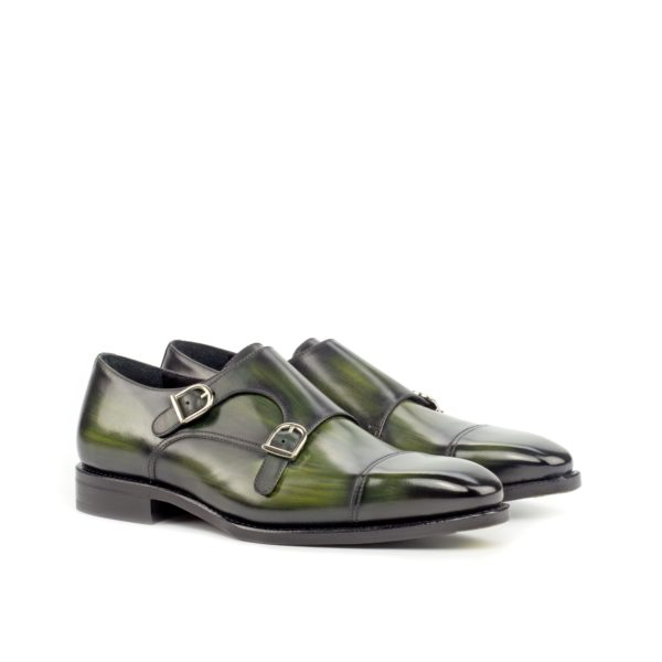 green patina leather Double Monk Shoes bevelled soles CARMINE by Civardi