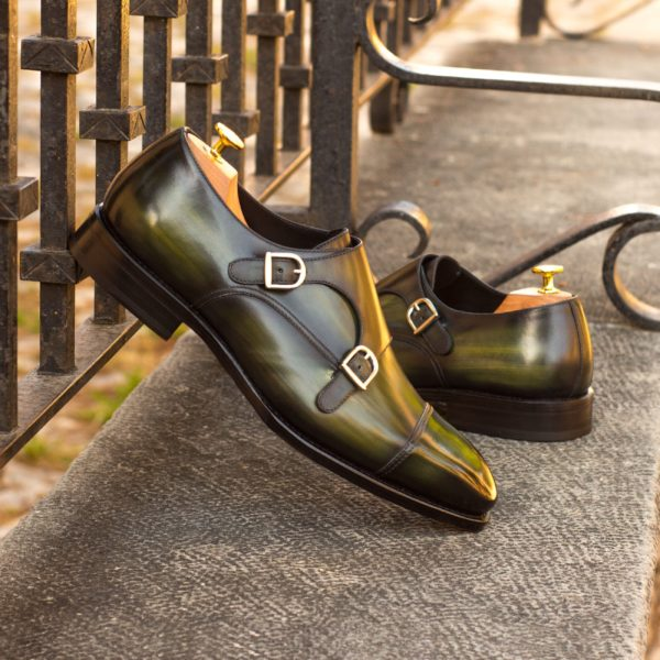 luxury green Patina leather Double Monk Shoes CARMINE