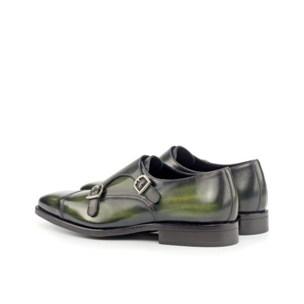 rear green Patina Double Monk Shoes silver buckles CARMINE