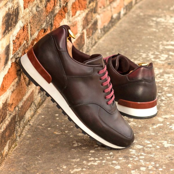 brown and burgundy leather Jogger Trainers COE