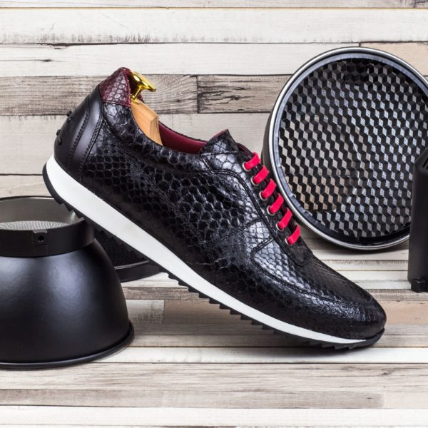 real black Python trainers with red laces DARKNESS