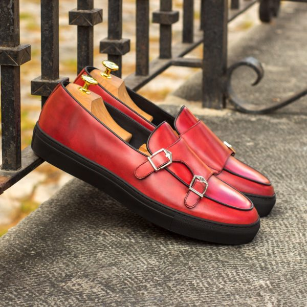 red polished leather Belgian style Monk Sneakers FABRE