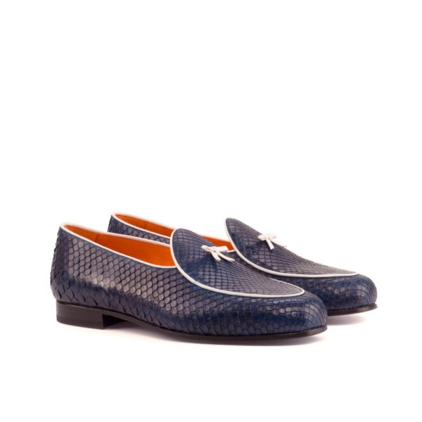 navy blue Python Belgian Slippers with white bow Frederick by Civardi