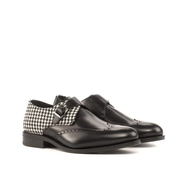 fancy Single Monk Shoes with black leather and black white houndstooth fabric JOSH by Civardi