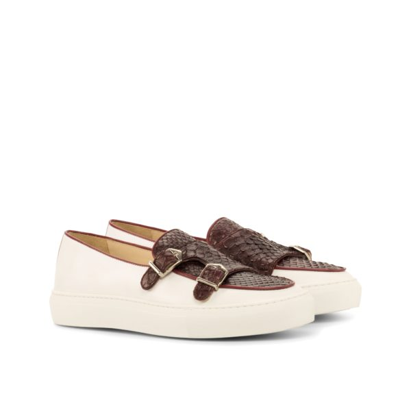 white leather and burgundy Python Monk-Strap Sneakers JUMBO by Civardi