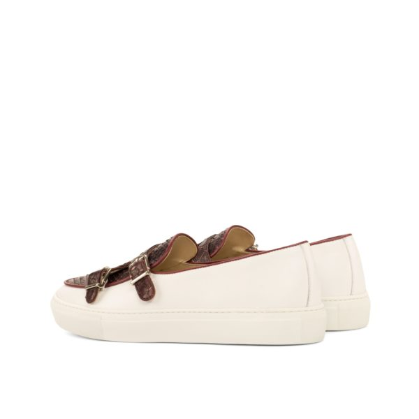rear detail of white leather and Python Monk Sneakers JUMBO