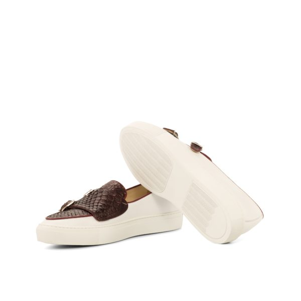white rubber soles on white and burgundy Python Monk Sneakers JUMBO