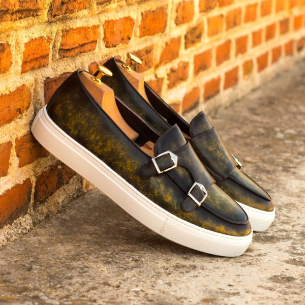 luxury green Patina Monk Sneakers with silver buckles MILO