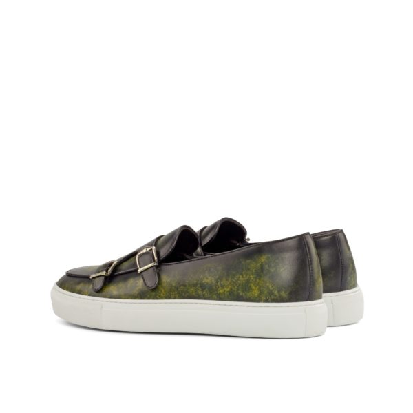 rear detail of marbled green patina leather Monk Sneakers MILO