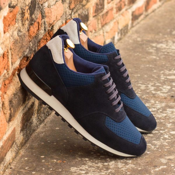 navy mesh fabric and suede retro Jogger Trainers OVETT
