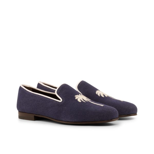 navy linen embroidered dressy Slippers PALM by Civardi