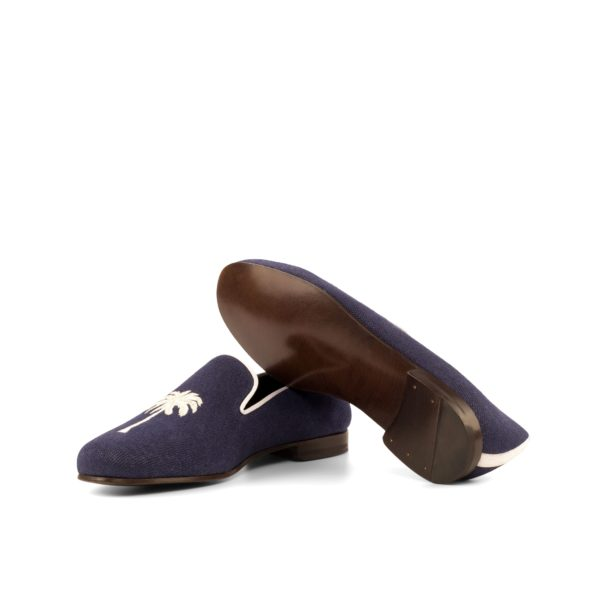 fine leather soles on embroidered linen Slippers PALM