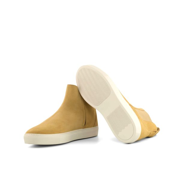 white rubber sneaker soles on beige suede casual Chelsea Boots PERRY