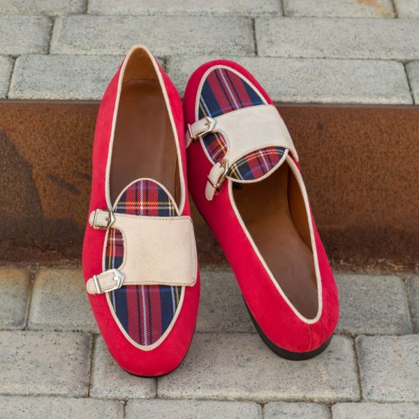 ivory suede straps on red tartan Monk Slippers ROPS