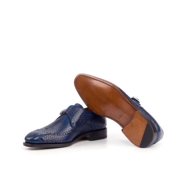 plain leather goodyear welted soles Python Single Monk Shoes SCALITA