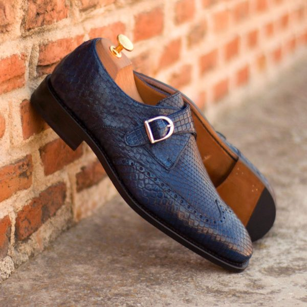 navy blue Python Shoes with silver buckles SCALITA