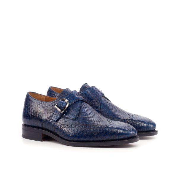 navy blue genuine Python Single Monk Shoes SCALITA by Civardi
