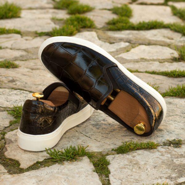luxurious black Alligator skin casual Slip-On Sneakers STEALTH