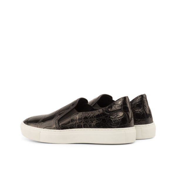 rear view of black luxury Alligator Slip-On Sneakers STEALTH