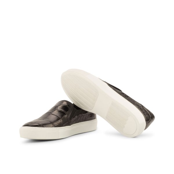 comfortable white rubber soles on Alligator Slip-On Sneakers STEALTH