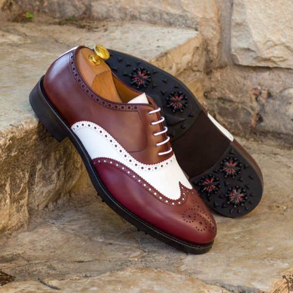 burgundy and white leather brogues for golf STEWART