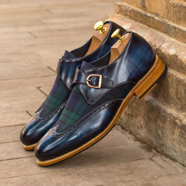 blackwatch tartan contrast Patina Single Monk Shoes THISTLE