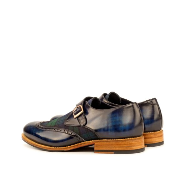 rear detail navy papiro patterned patina leather and tartan Single Monk Shoes THISTLE