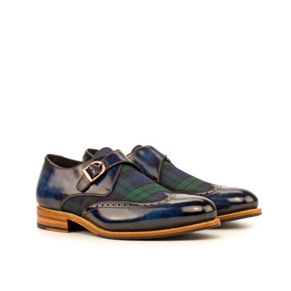 navy Patina and contrast blackwatch tartan Single Monk Shoes THISTLE by Civardi