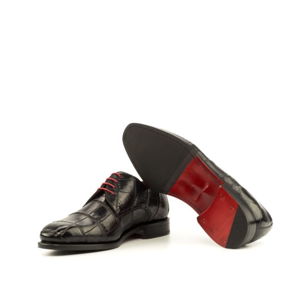 black Alligator Shoes with goodyear welted red leather and rubber soles WINSTON