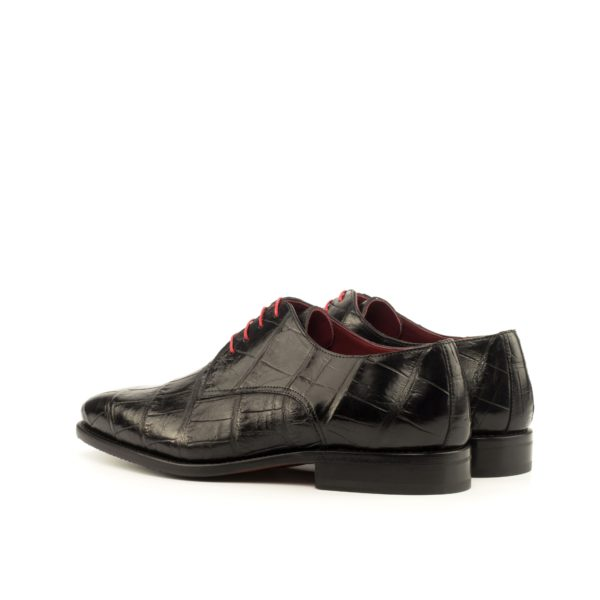rear of black Alligator Derby lace-up Shoes WINSTON