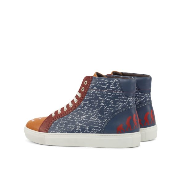 navy leather hi-top boots with stencil art AHOY